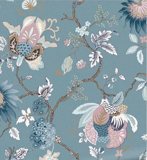 Blue Bordado Aegean Floral Wallpaper, Roll