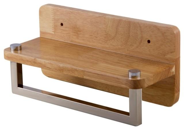 Alfi Brand Ab5510 12 Inch Small Wooden Shelf With Chrome Towel Bar