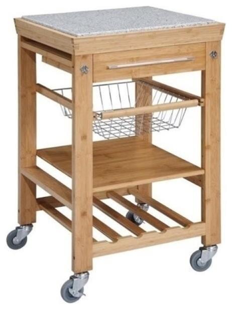 Bowery Hill Granite Top Kitchen Cart.
