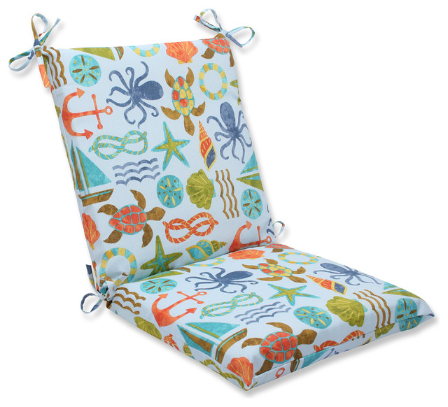Beach Style Outdoor Cushions : Pillow Perfect, Inc. - Seapoint Blue Summer Squared Corners Chair Cushion - View in Your Room ...