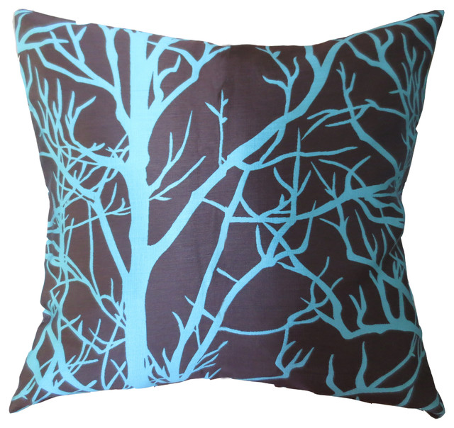 Exceptional ElleWeiDeco Modern Tree Branch Throw Pillow Cover, Brown And Cyan  Contemporary Decorative Pillows