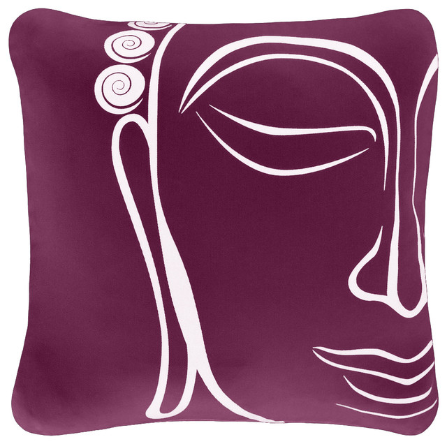 Buddha Organic Cotton Square Throw Pillow Cover Asian Decorative Classy Buddha Decorative Pillows