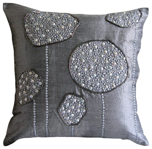 Modern Silver Pillows : The HomeCentric Silver Ball Bearings, Gray Art Silk Throw Pillow Covers 16