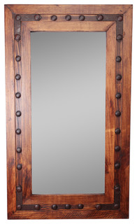 Los Olmos Rustic Mirror Iii 30x36 Industrial Wall Mirrors By Mexican Imports