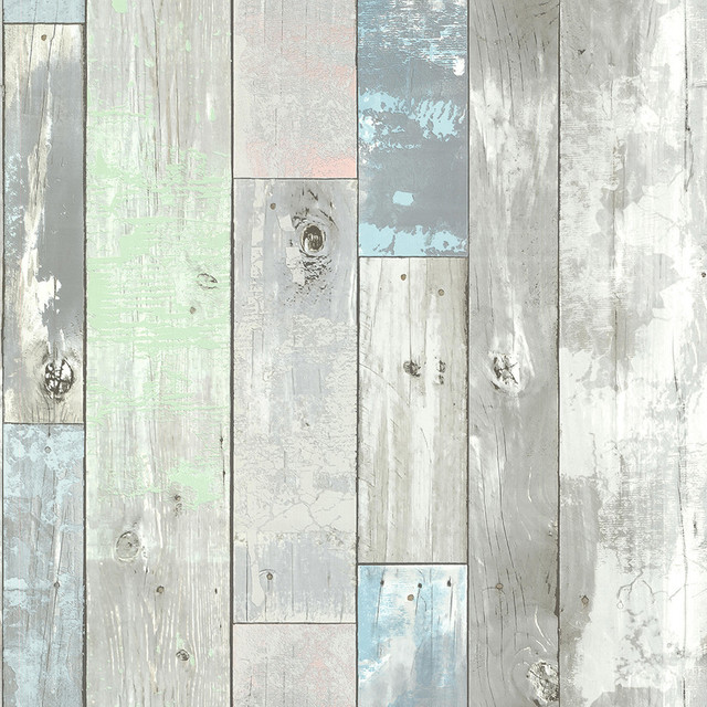 Ashwile blue wood wallpaper beach style wallpaper by for Brewster wallcovering wood panels mural