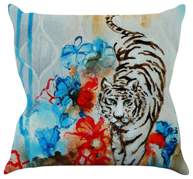Sonal Nathwani Quot Tiger Quot Throw Pillow Contemporary
