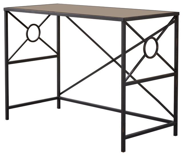 Black & Brushed Copper Metal With Tempered Glass Top Modern Office Desk.