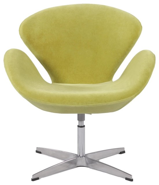 Chintaly swivel arm fun chair green faux velvet for Interesting armchairs
