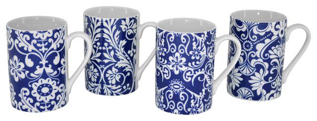Blue and White Designed Print 4-Piece Coffee Mugs Tea Gift Set