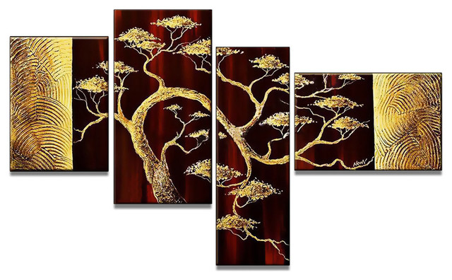 """""""golden Bonsai"""" Hand-Painted Canvas Painting, 4-Panel, 57""""x34""""."""