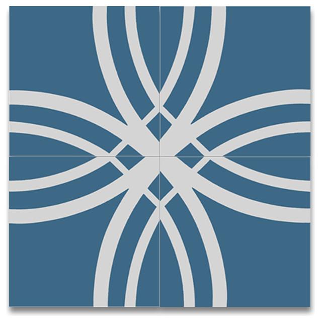 "8""x8"" Tetouan Handmade Cement Tile, Blue And White, Set Of 12."