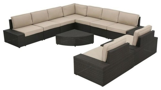 GDF Studio 10-Piece Sheridan Wicker Sectional With Water Resistant Cushions
