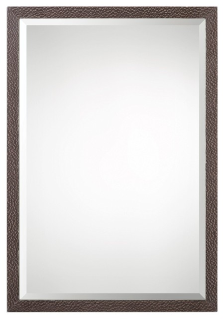 Textured oak wood thin frame wall mirror 32 vanity for Thin wall mirror