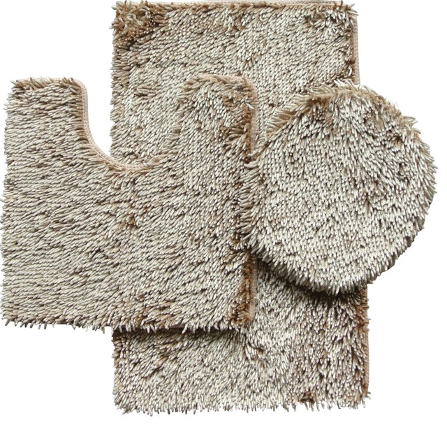 3 Piece Shiny Chenille Bath Rug Set  Includes Rug  Contour And Lid Cover. 3 Piece Shiny Chenille Bath Rug Set  Includes Rug  Contour And Lid