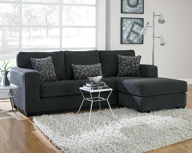 Flyer Charcoal Two Piece Sectional Sofa Modern Living Room