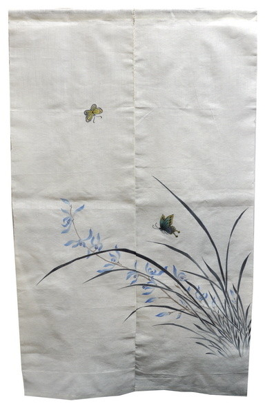Orchid And Butterfly Linen Noren Curtain.