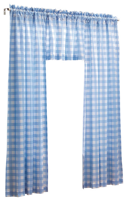 Blue And White Gingham Check 3 Pc Kids Bedroom Curtain