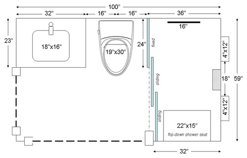 Three panel frameless bypass shower door one fixed two for Sliding door plan view
