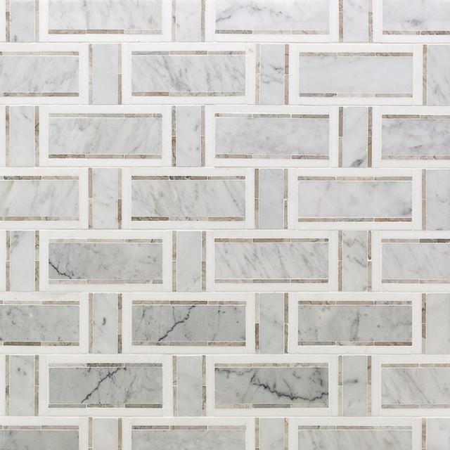 Mingle Thassos Interlocking Marble Mosaic Tile, Nero White Carrara, White/Gray