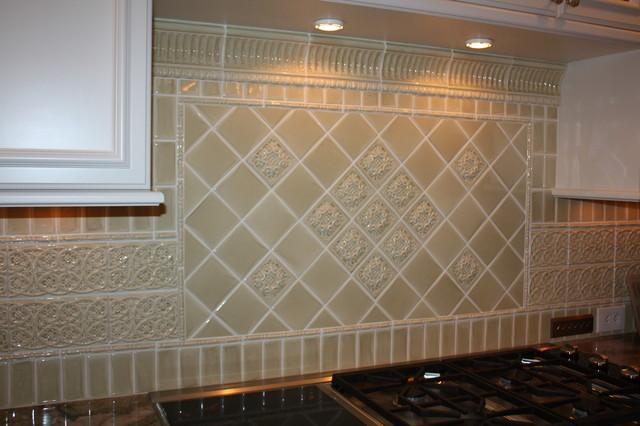 Glazed Porcelain Tile Backsplash Traditional Kitchen