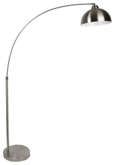 Brushed Nickel Modern Arc Floor Lamp