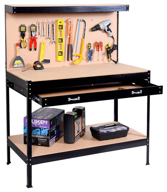 Costway Work Bench Tool Storage Steel Frame Tool Table W/ Drawer and Peg Boar