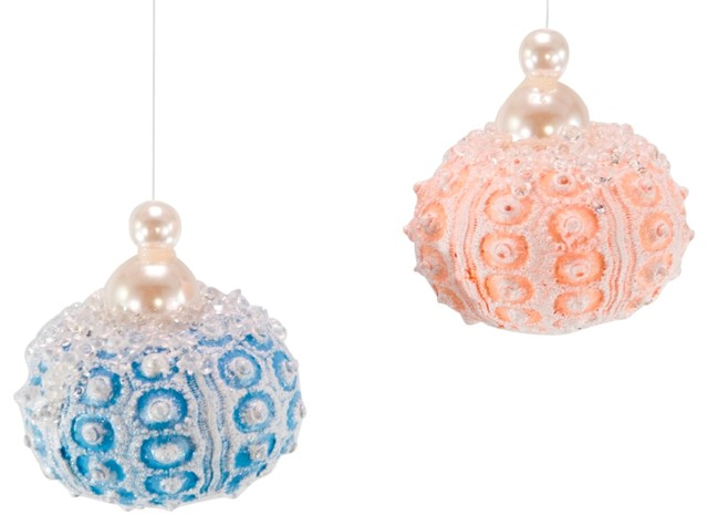 Sunbleached Jeweled Blue Pink Sea Urchins Christmas Holiday Ornaments Set Of 2