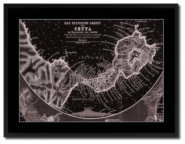 5eabad03ddbc Ceuta Morocco Old Vivid Sepia Map Print On Canvas With Black Frame, 28
