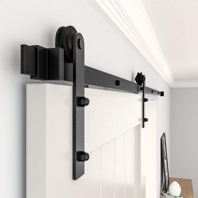 Zekoo Sliding Barn Door Hardware Track Kit For Single Door I Shape Roller Traditional Barn Door Hardware By Zekoo Inc Houzz