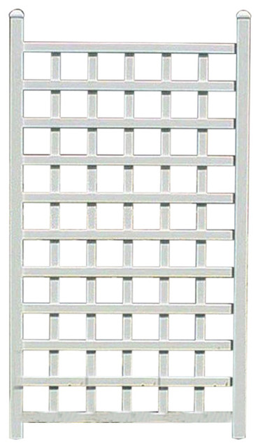 5&x27; White Vinyl Garden Trellis With Classic Lattice Design.