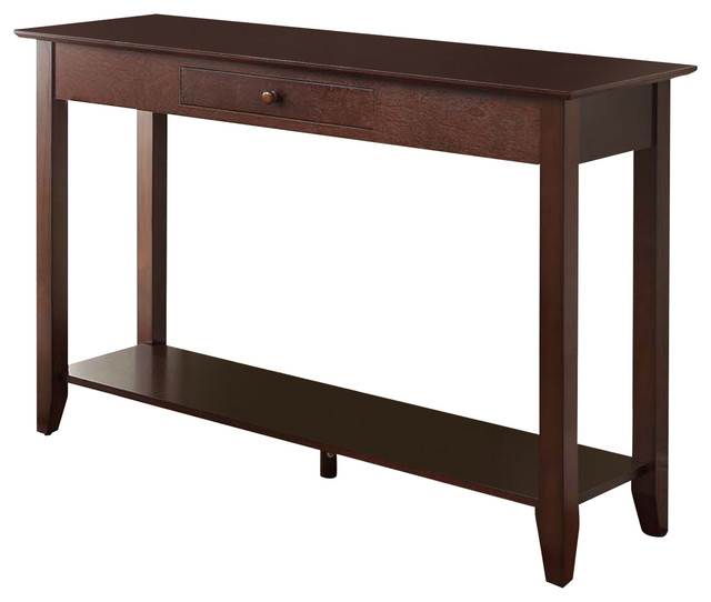 American Heritage Console Table With Drawer, Espresso.