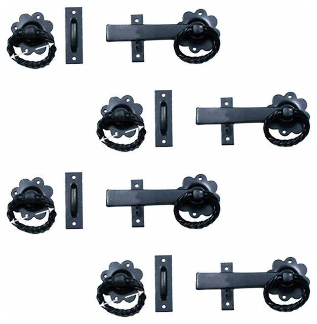 4 Wrought Iron Gate Latch Floral Pattern Black Rustproof 6  : rustic home improvement from www.houzz.com size 626 x 640 jpeg 54kB