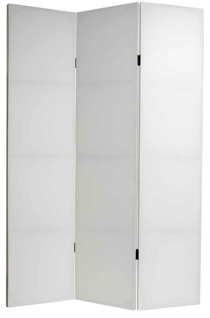 Do It Yourself Canvas Room Divider in White 3 Panels Contemporary