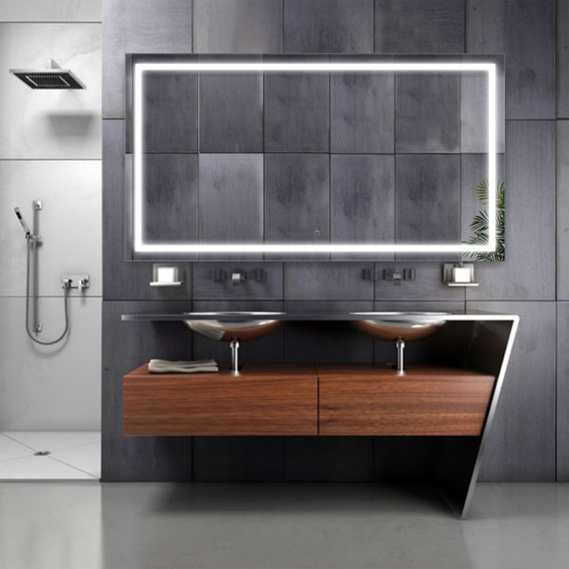 Large Led Lighted Bathroom Mirror With Defogger And Dimmer Modern Bathroom Mirrors By Krugg Reflections Houzz