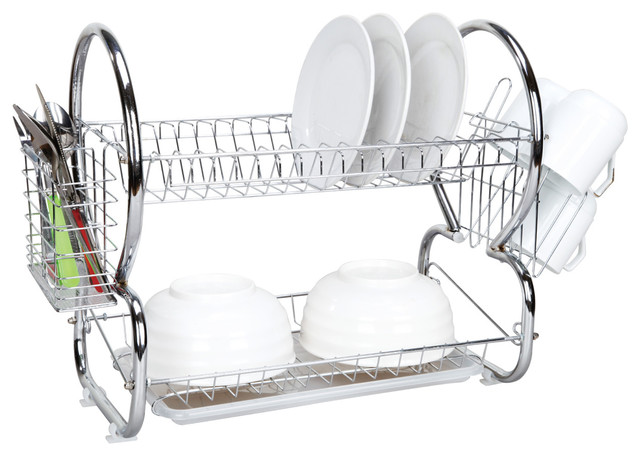 Home Basics 2 Tier Dish Rack Interesting Home Basics 60Tier Chrome Dish Drainer Contemporary Dish Racks