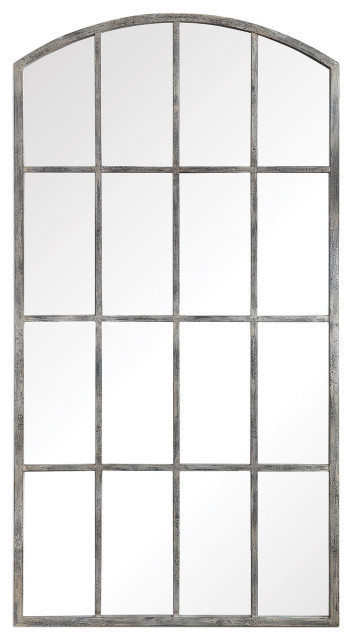 Amiel Transitional Large Scale Arched, White Decorative Window Pane Mirror
