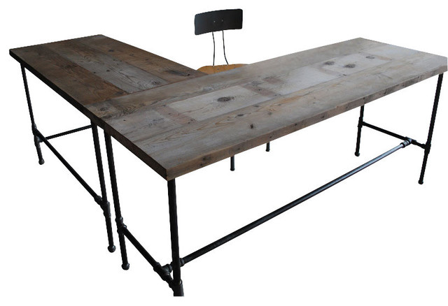 Modern Industry L Shape Reclaimed Wood Desk - Desks And Hutches ...