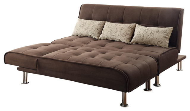 Brown Microfiber 2-Piece Sectional Sofa Futon Sleeper Pillow Set.