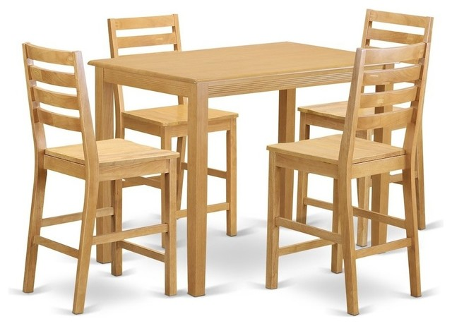 5-Piece Counter Height Pub Set, Pub Table And 4 Kitchen Chairs