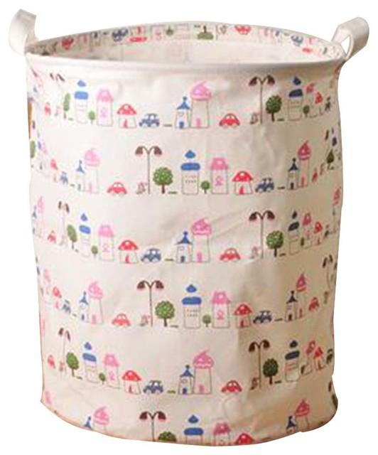 Cotton Linen Waterproof Laundry Basket, Lighthouse.