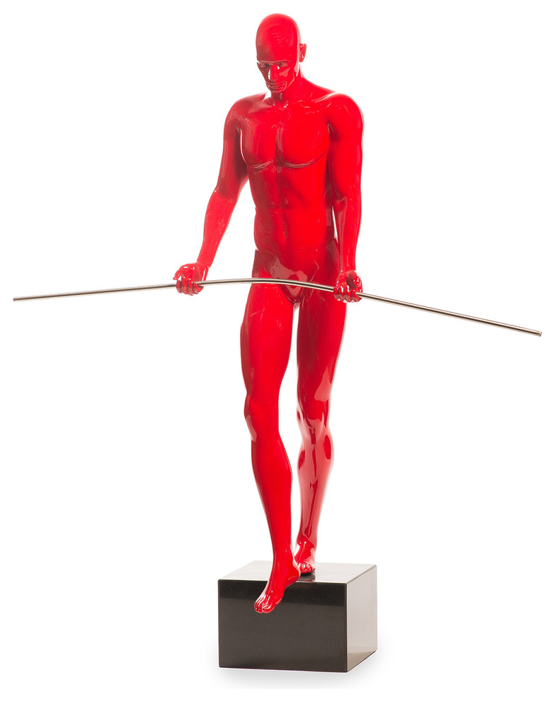 Finesse Decor Balancing Man Sculpture Red