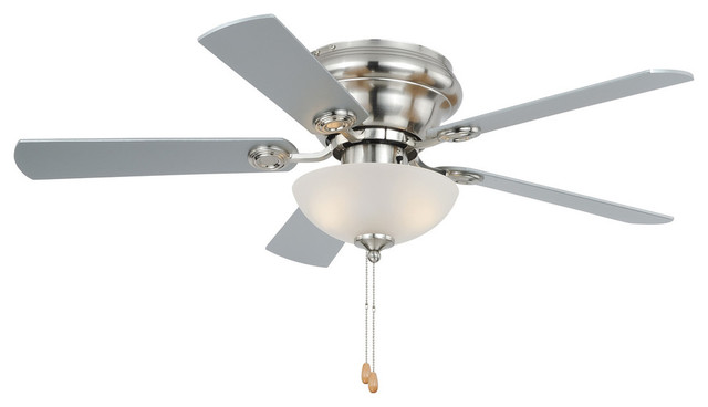 "Expo 42"" Flushmount Ceiling Fan, Satin Nickel/maple/silver."