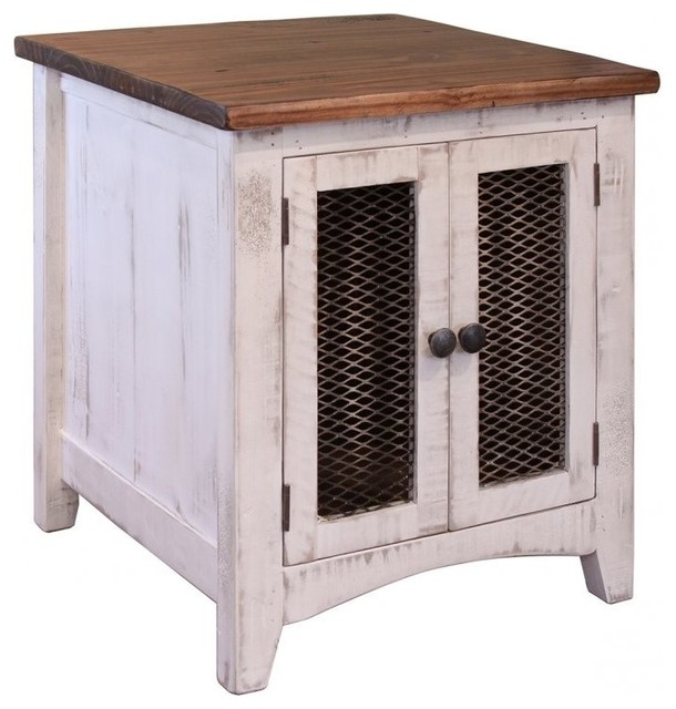 Greenview White Solid Pine Wood End Table, 2 Mesh Doors