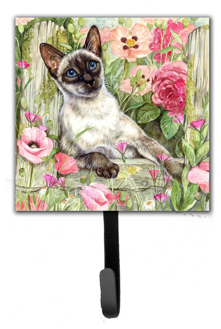 Siamese Cat In The Roses Leash/key Holder.