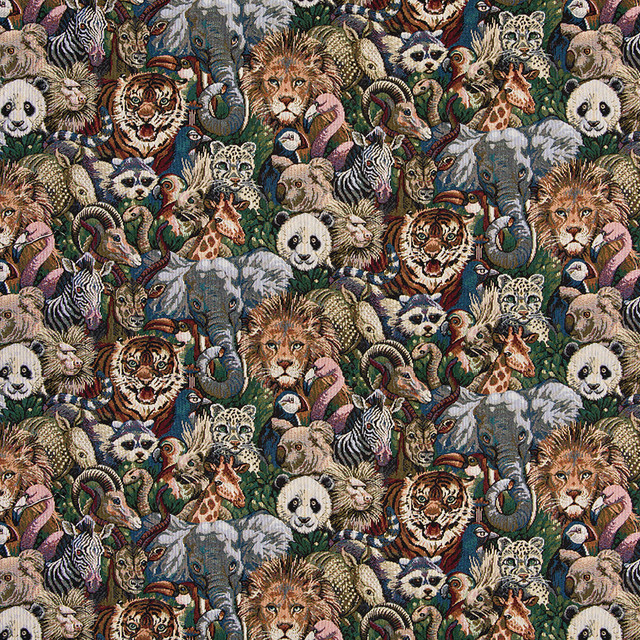 Various Zoo Animal Themed Tapestry Upholstery Fabric By The Yard