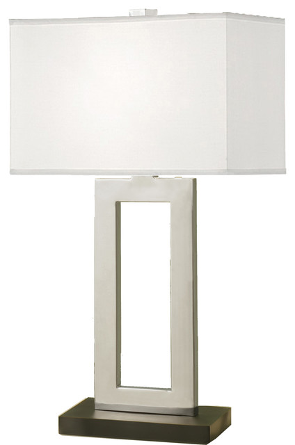 "Geometric 29"" Chrome And Black Table Lamp With Rectangular Hardback Shade."