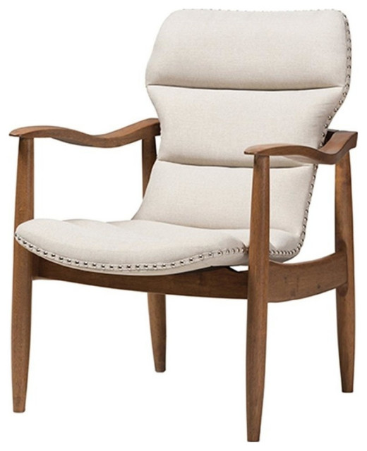 Hadley Mid-Century Modern Walnut Brown Wood Lounge Chair, Light Beige