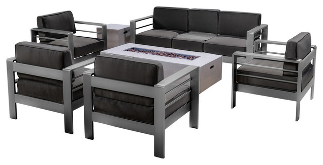 GDF Studio 7-Piece Coral Bay Outdoor Aluminum Sofa Set With Fire Table, White