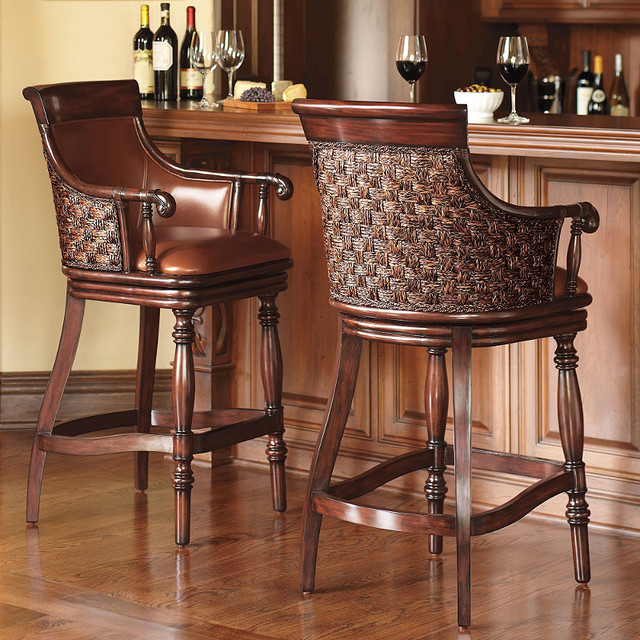 Marco Woven Back Bar Stool Traditional Bar Stools And