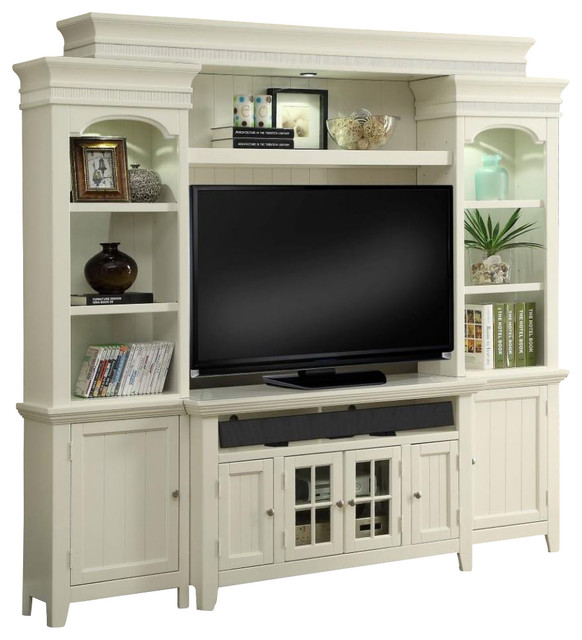"""Parker House Tidewater 50"""" Console Entertainment Wall, Vintage White Tid150-4"""